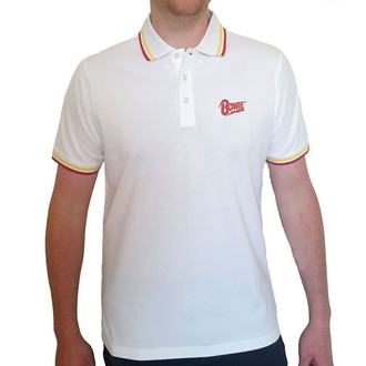 Мужская футболка David Bowie - Flash - Logo Uni - WHT Polo - ROCK OFF, ROCK OFF, David Bowie