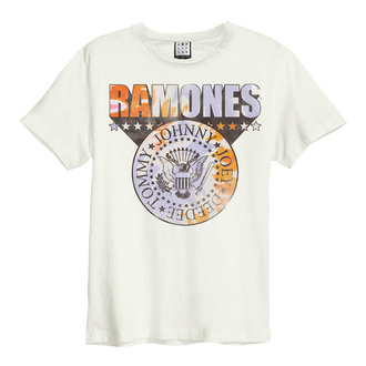 Мужская футболка RAMONES - TIE DYE SHIELD - VINTAGE WHITE - AMPLIFIED, AMPLIFIED, Ramones